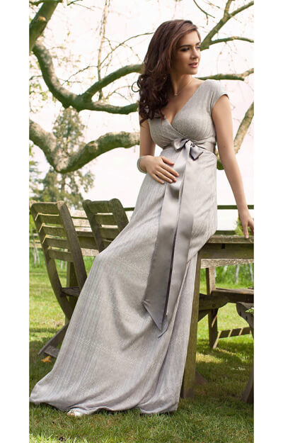 Summer Breeze Maxi Maternity Dress (Silver) by Tiffany Rose