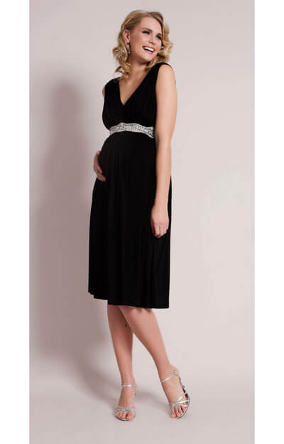 Smooth Gather Maternity Dress (Black) by Tiffany Rose