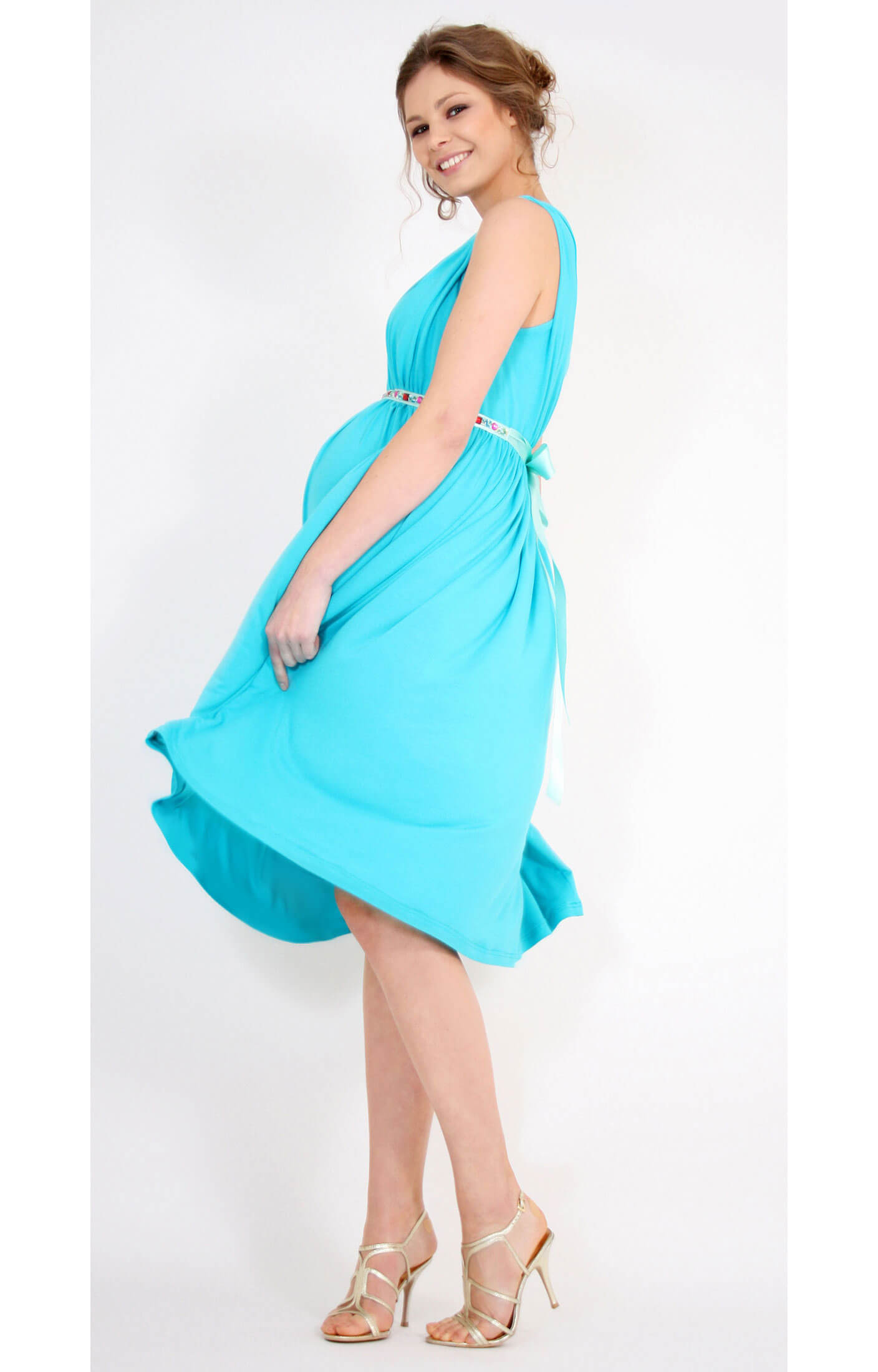 Smooth Gather Maternity Dress (Peacock Blue) - Maternity Wedding ...