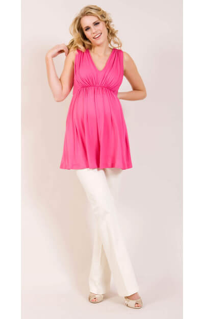 Smooth Gather Maternity Top (Pink) by Tiffany Rose