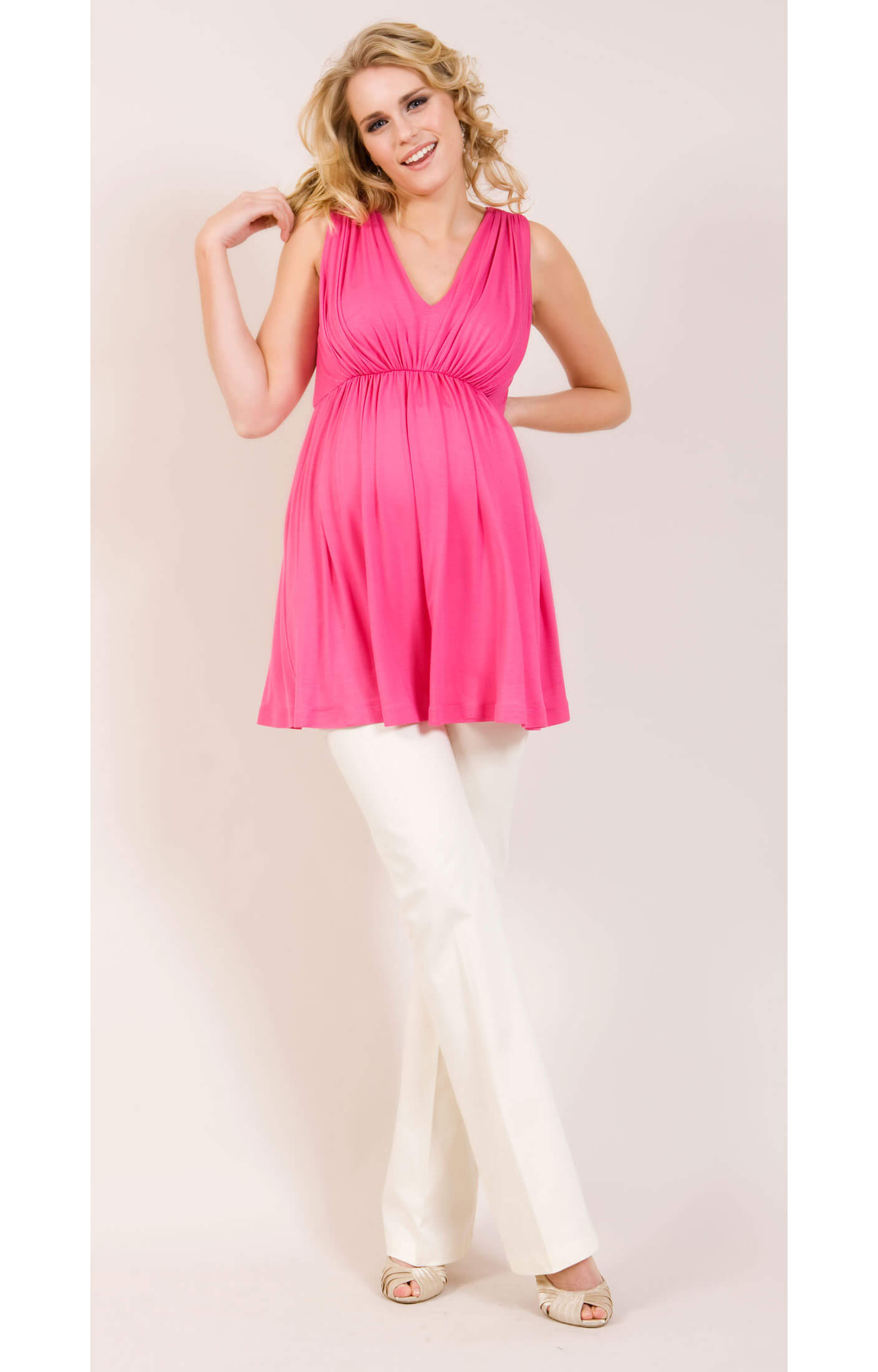 Smooth Gather Maternity Top (Pink) - Maternity Wedding Dresses ...