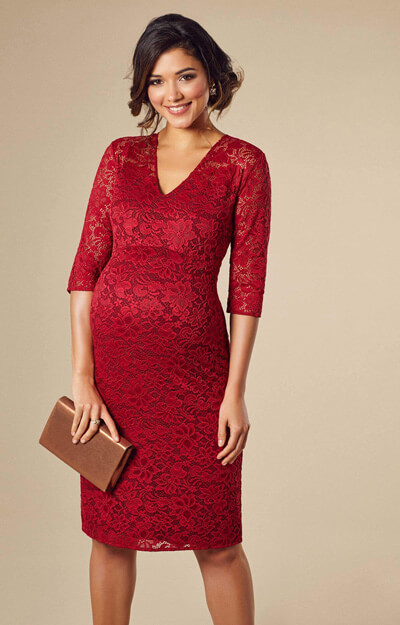 Suzie Maternity Dress Short Deep Red by Tiffany Rose