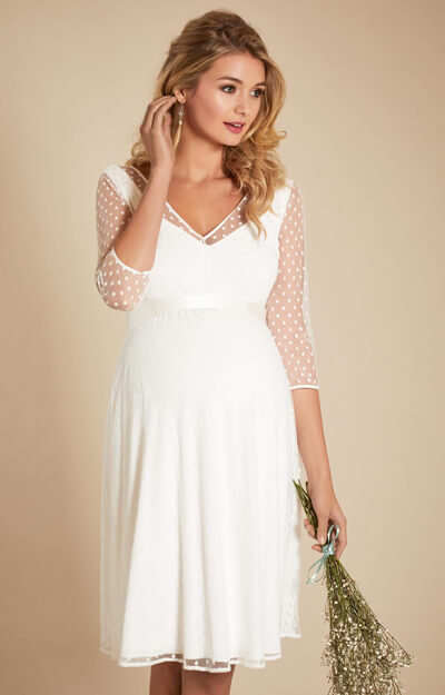 Silvia Polka Dot Maternity Dress Ivory by Tiffany Rose