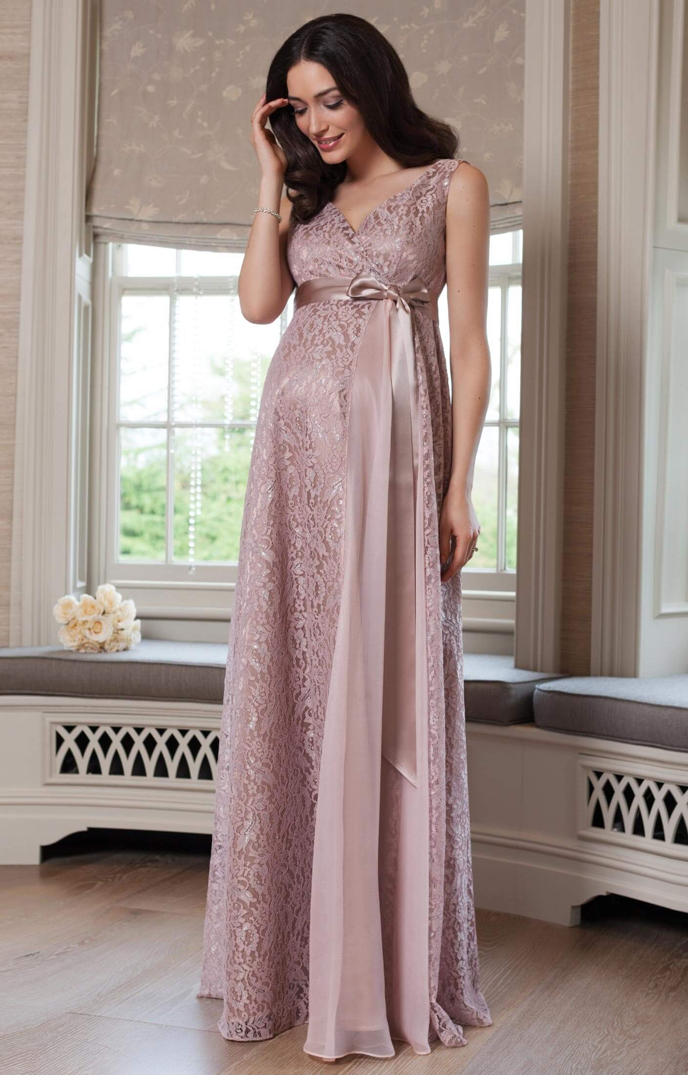 Robe longue de grossesse Thea Blush by Tiffany Rose