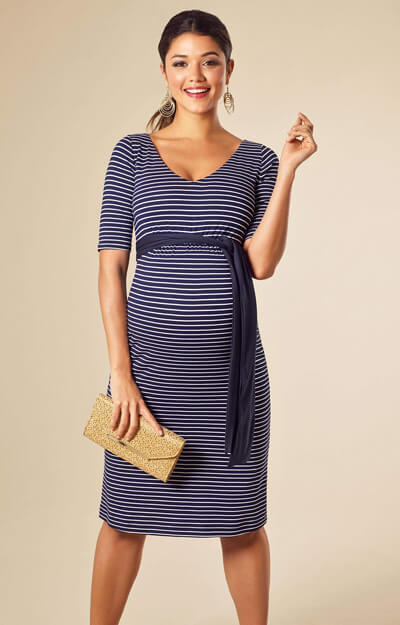 Tilly Shift Maternity Dress Navy Stripe by Tiffany Rose