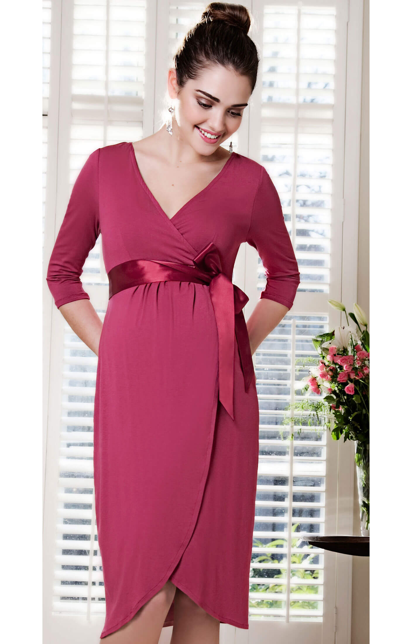 Tulip Maternity Dress (Raspberry Crush) - Maternity Wedding Dresses ...