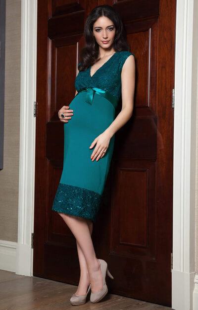 Twilight Maternity Lace Dress Emerald Blue by Tiffany Rose