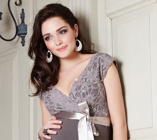 bbff80a92d3e Twilight Lace Maternity Dress (Mocha) - Maternity Wedding Dresses ...
