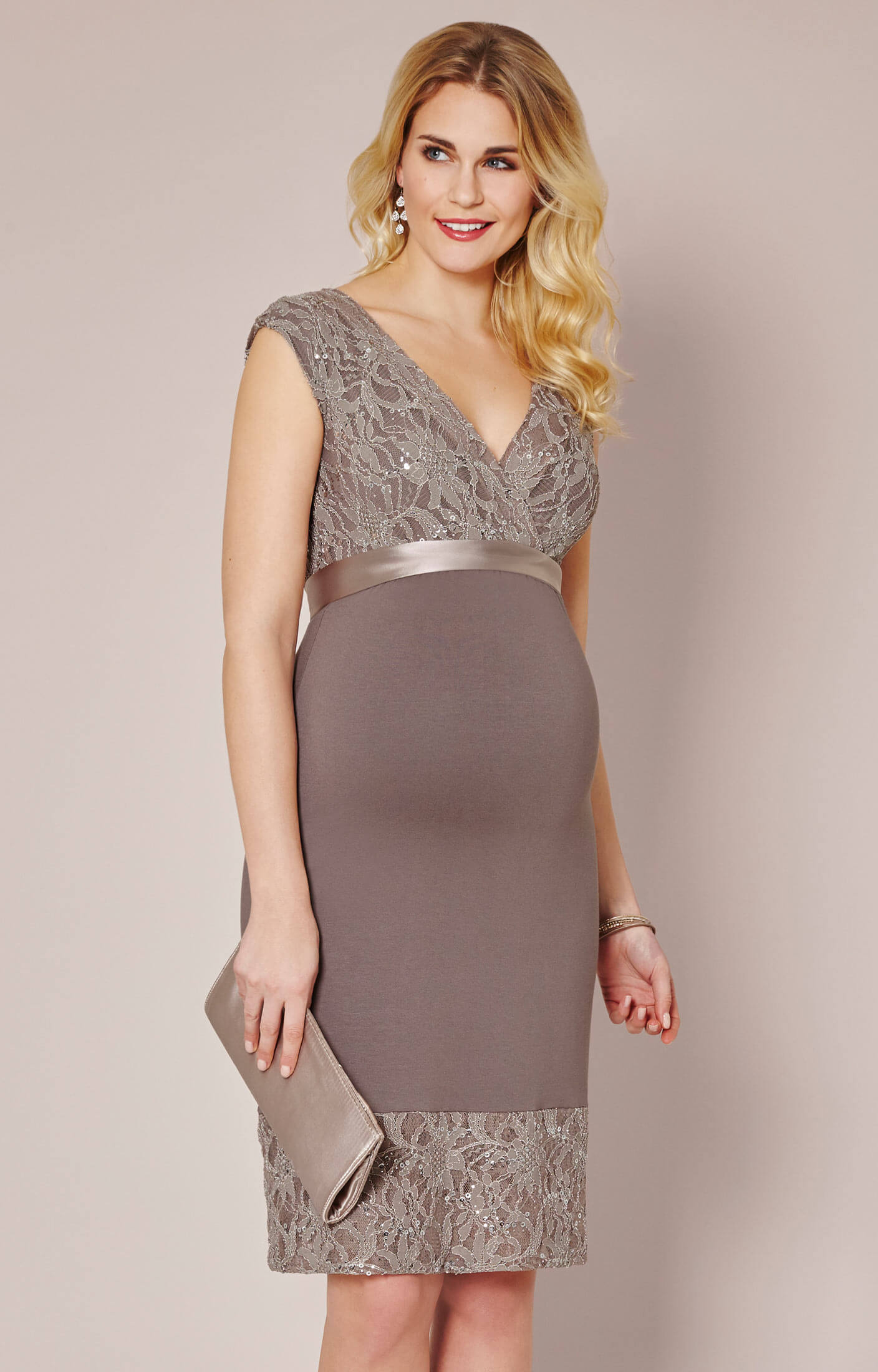 Twilight Lace Maternity Dress (Mocha) By Tiffany Rose