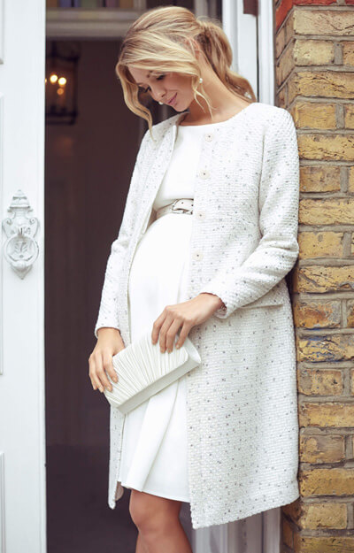 Verity Maternity Coat Ivory Ice Bouclé by Tiffany Rose