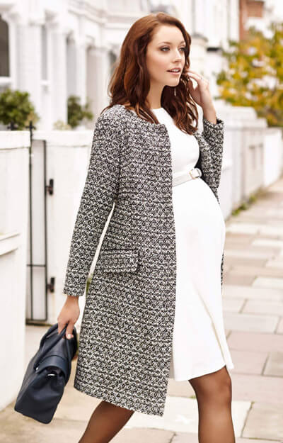 Verity Maternity Coat Snow Forest Bouclé by Tiffany Rose