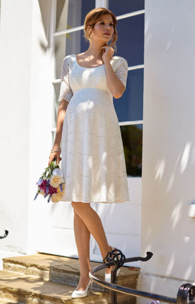 Verona Maternity Wedding Dress Short Ivory White by Tiffany Rose