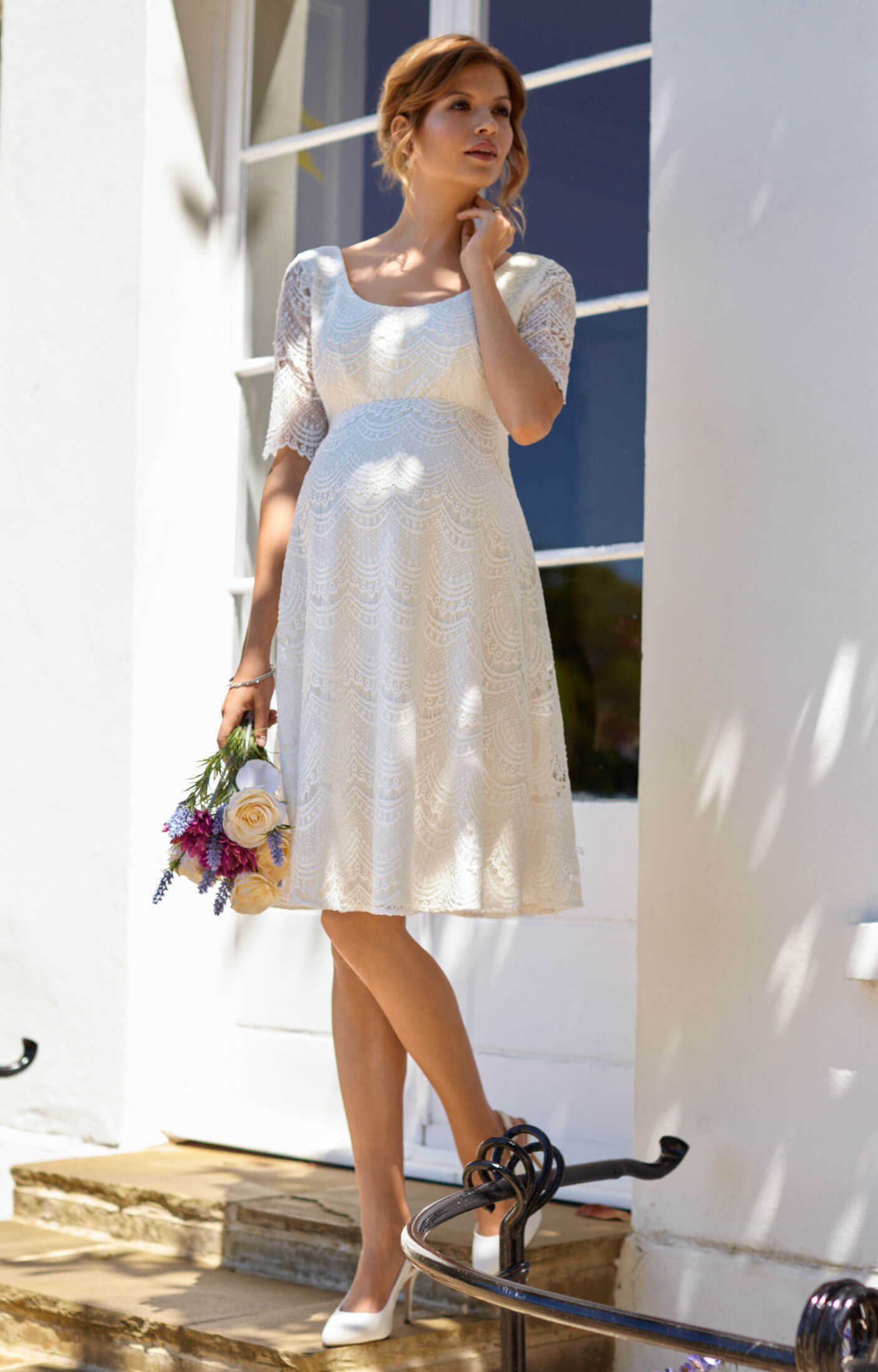 Verona Maternity Wedding Dress Short Bright Ivory By Tiffany Rose