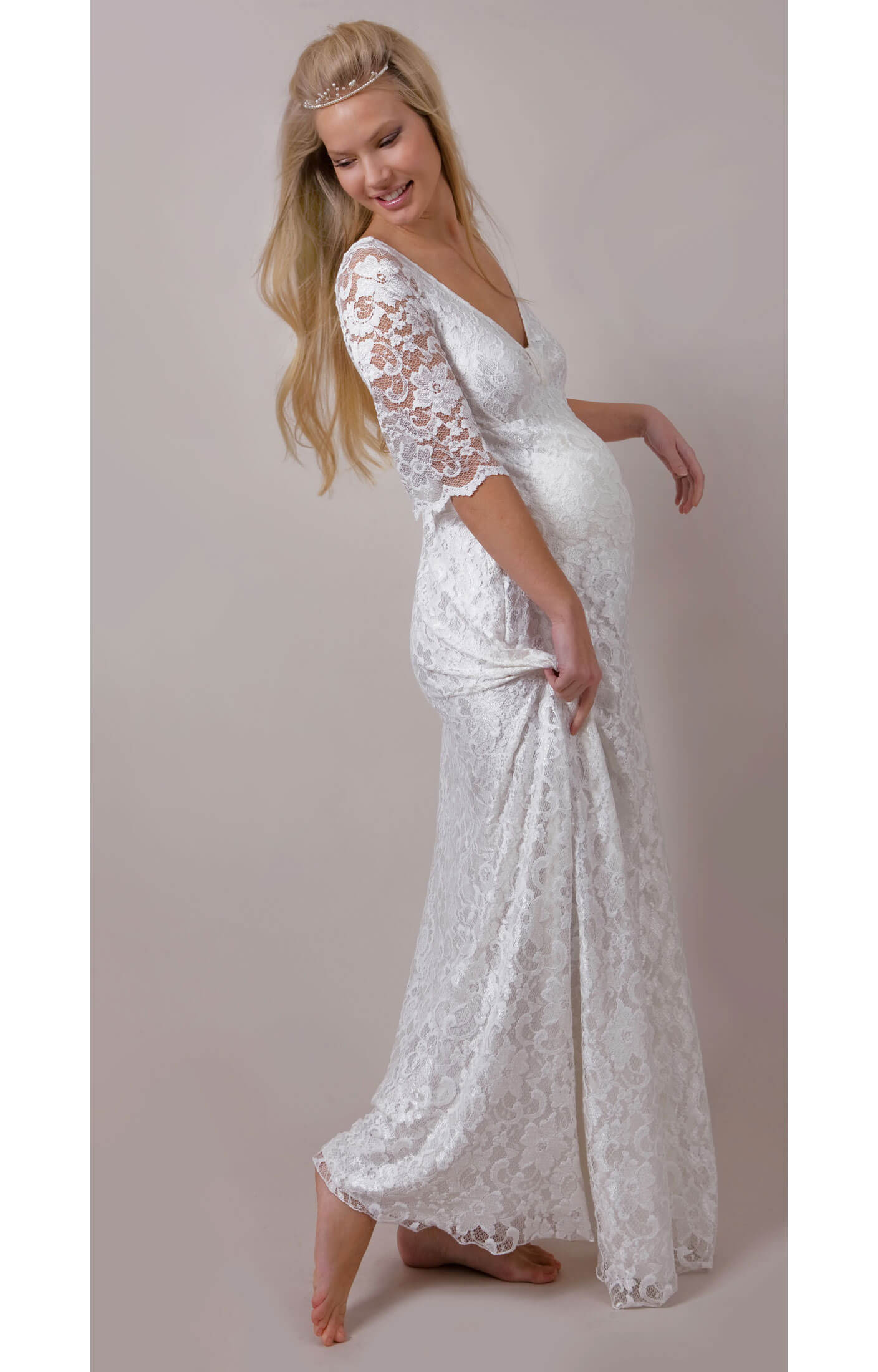 White orchid lace maternity wedding gown maternity for Maternity dress for a wedding