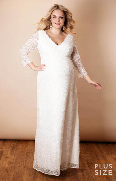 Chloe Lace Plus Size Maternity Wedding Gown Ivory by Tiffany Rose
