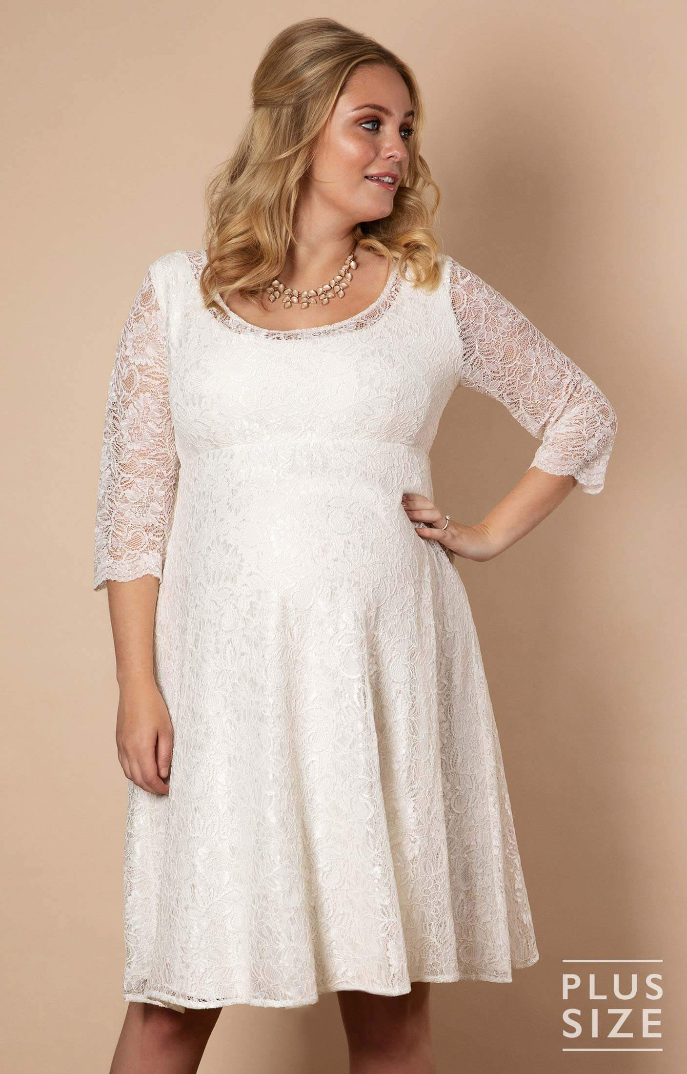 Freya Dress Short Plus Size Maternity Wedding Dress Ivory - Maternity  Wedding Dresses, Evening Wear and Party Clothes by Tiffany Rose