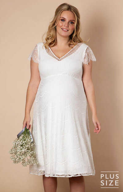 Kristin Plus Size Maternity Wedding Dress Ivory White by Tiffany Rose
