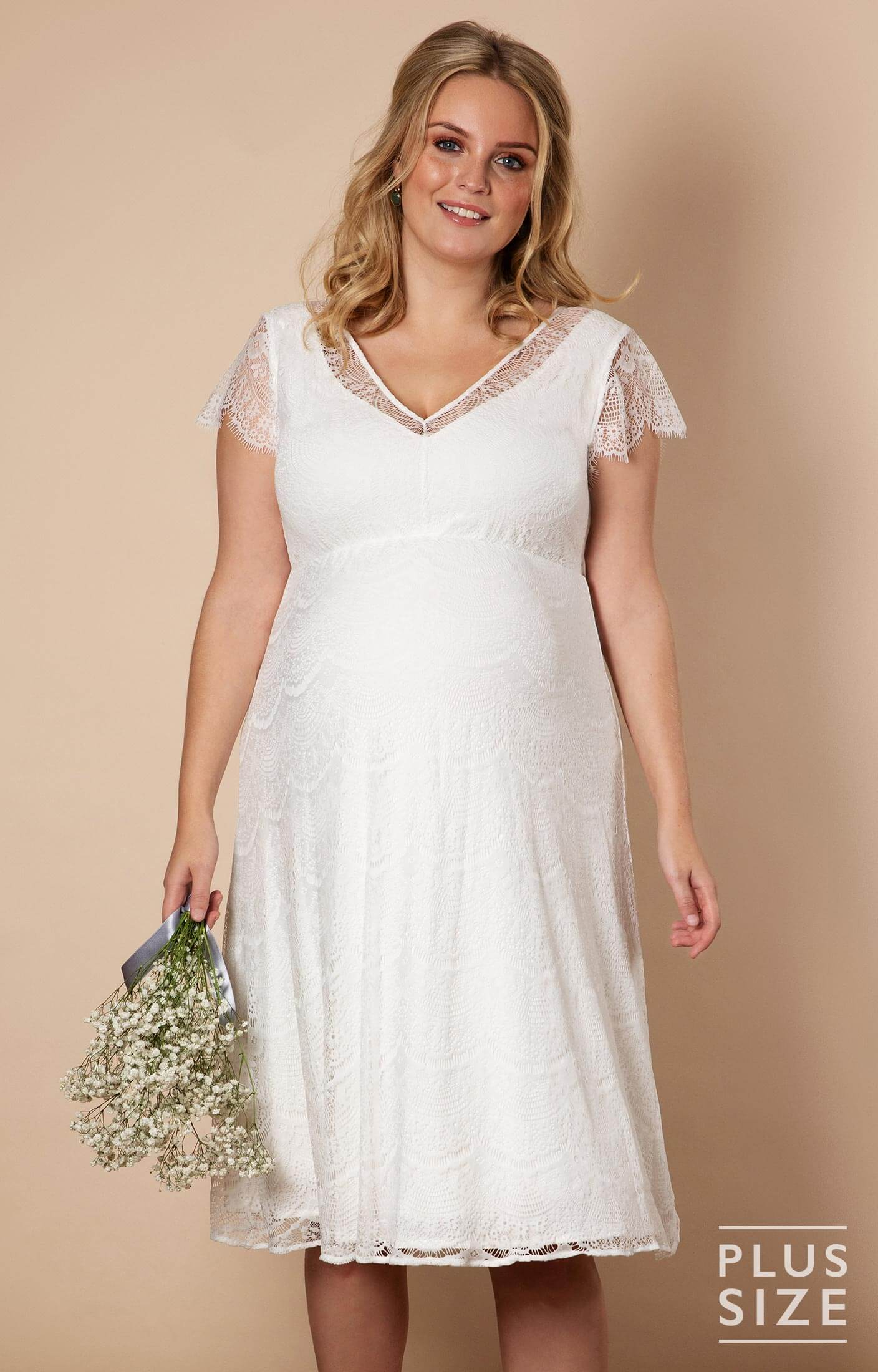 Kristin Plus Size Maternity Wedding Dress Ivory White - Maternity Wedding  Dresses, Evening Wear and Party Clothes by Tiffany Rose
