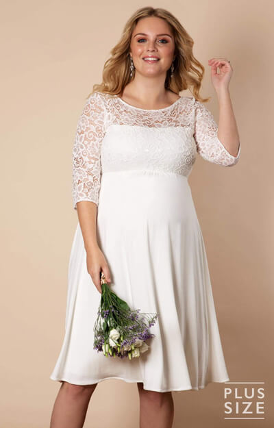 Lucia Plus Size Maternity Wedding Dress Short Ivory White by Tiffany Rose