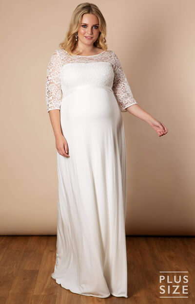 Lucia Plus Size Maternity Wedding Gown Long Ivory White by Tiffany Rose