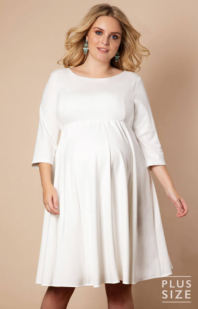 Sienna Maternity Plus Size Dress Short Cream by Tiffany Rose