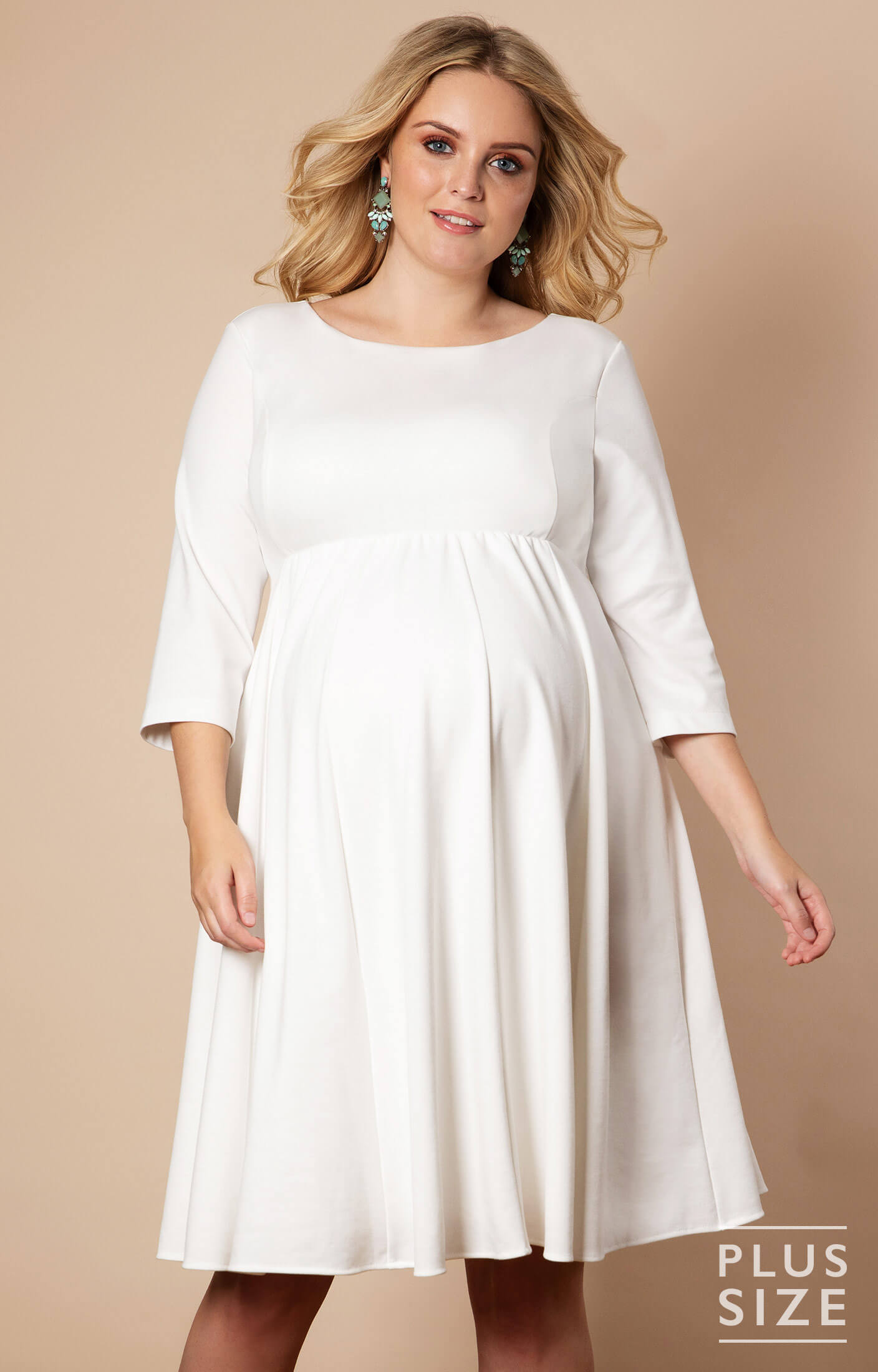 Sienna Maternity Plus Size Dress Short Cream - Maternity Wedding Dresses,  Evening Wear and Party Clothes by Tiffany Rose