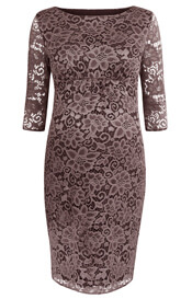 Abigail Maternity Lace Dress Cocoa