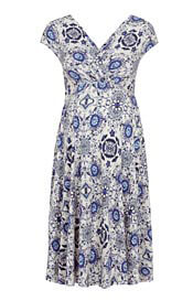 Alessandra Maternity Dress Short Porcelain Blue