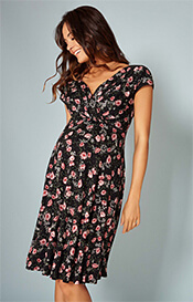 Alessandra Maternity Dress in floral Ruby Bloom print