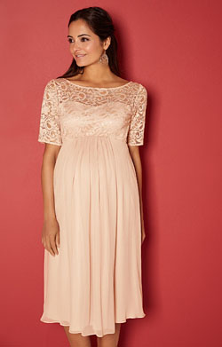 Alaska Maternity Silk Dress in Peach Blush