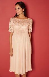 Alaska Maternity Chiffon Dress in Peach Blush