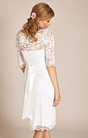 Amelia Lace Maternity Wedding Dress Short (Ivory)