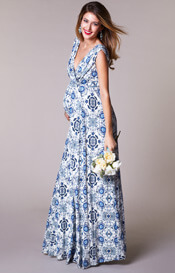 Anastasia Maternity Gown Long Porcelain Blue