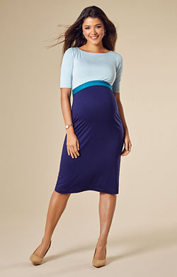 Anna Maternity Shift Dress Celestial Blue