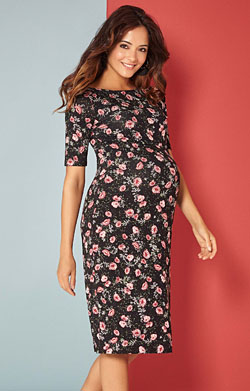 Anna Maternity Floral Shift Dress Short Ruby Bloom
