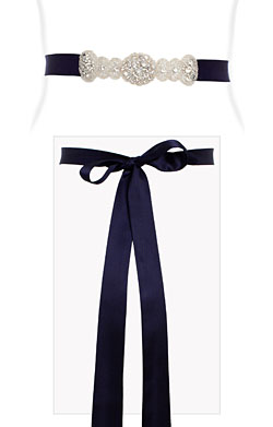 Aurelia Vintage Diamante Sash Regal Blue