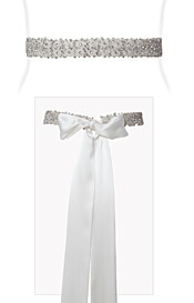 Crystal Beaded Sash Ivory