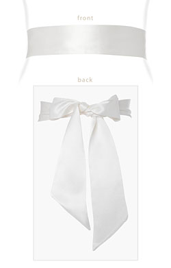 Faux Silk Sash Long Ivory