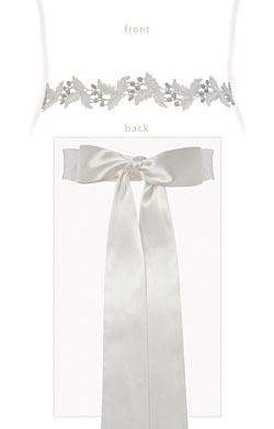 Grecian Embroidered Sash Silver/Ivory