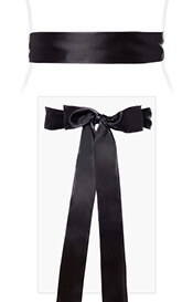 Smooth Satin Sash Slim Black