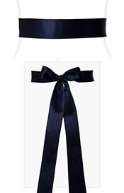 Smooth Satin Sash Slim Midnight Blue
