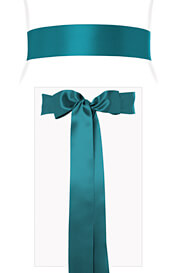 Smooth Satin Sash Long Aegean Blue