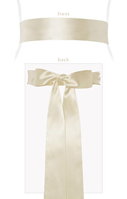 Smooth Satin Sash Long Cream
