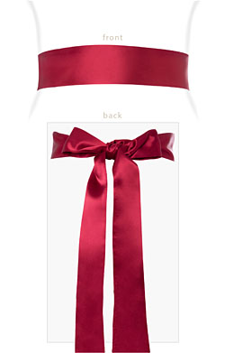 Smooth Satin Sash Long Deep Raspberry