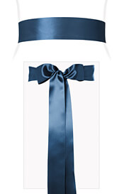 Smooth Satin Sash Long Lagoon Blue
