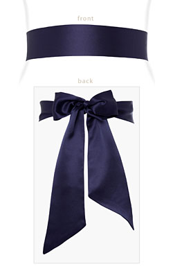 Smooth Satin Sash Midnight Blue