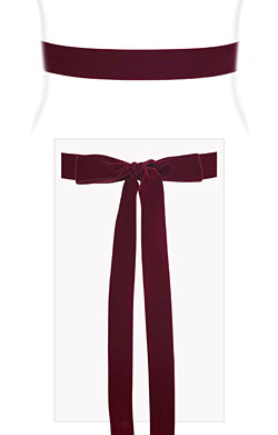 Velvet Ribbon Sash Burgundy