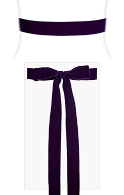 Velvet Ribbon Sash Purple