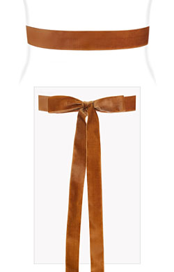 Velvet Ribbon Sash Rust Orange