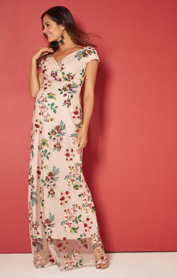 Bailey Maternity Embroidered Floral Gown Blushing Blooms
